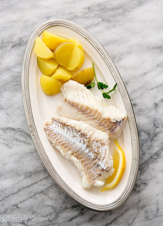 Cod Poached in Court Bouillon (0074)