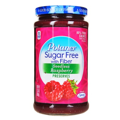 Polaner Sugar Free With Fiber Seedless Raspberry Preserves 383g