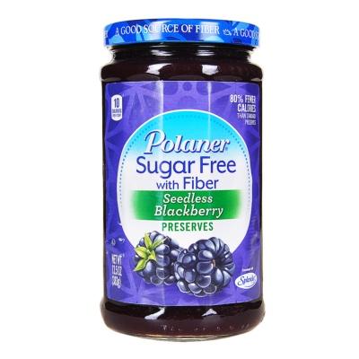Polaner Sugar Free With Fiber Seedless Blackberry Preserves 383g