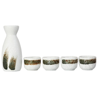 Japanese-Style Ceramic Jug&Cups-Drifting Clouds And Flowing Water