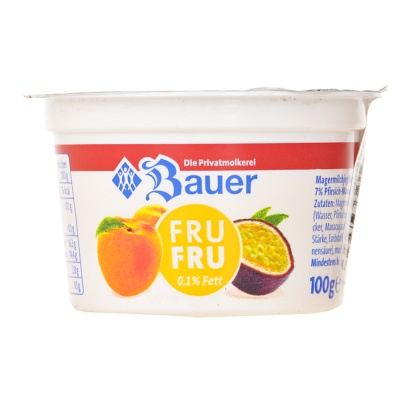Bauer Fru Fru Fermented Milk 0.1% Fat Peach Passion 100g
