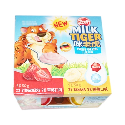 Zott Milk Tiger Cheese For Kids(Strawberry&Banana) 4*50g