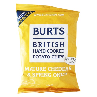 Burts British Hand Cooked Potato Chips(Mature Cheddar&Spring Onion) 40g