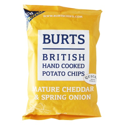 Burts British Hand Cooked Potato Chips(Mature Cheddar&Spring Onion) 150g