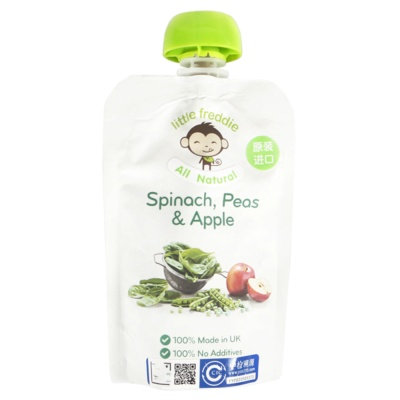 Little Freddie Spinach,Peas & Apple Sauce 90g