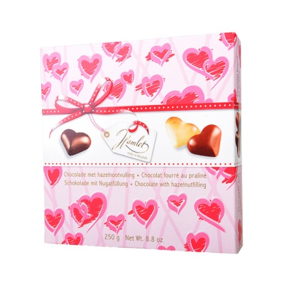 哈姆雷特心形榛子巧克力粉色礼盒 250g