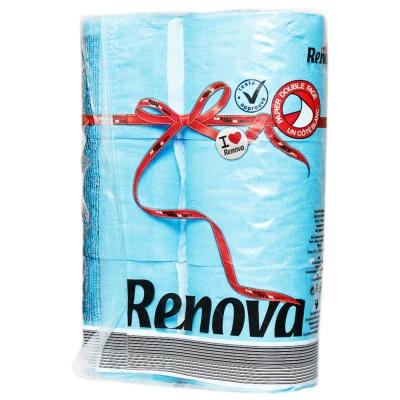 Renova Small Roll Of Toilet Paper (Blue + White) 6p