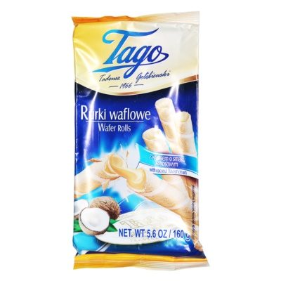 Tago Wafer Rolls With Coconut Flavour Cream 160g