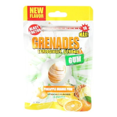 Grenades Pineapple Orange Pow Artificially Flavored Gum 30g