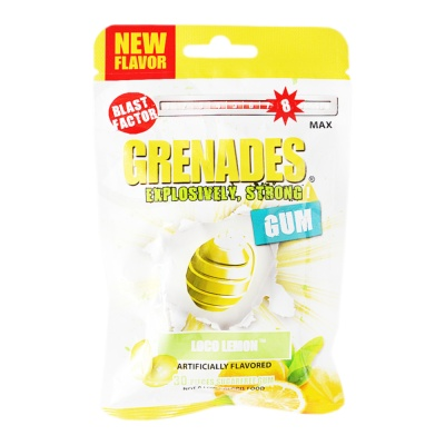 Grenades Loco Lemon Artificially Flavored Gum 60g