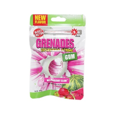 Grenades Melonberry Slam Artificially Flavored Gum 30g