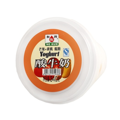 HeRun Mango & Yellow Peach Low Fat Yoghurt 340g