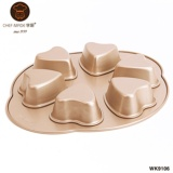 6 Cup Non-Stick Heart Cake Pan 566g - 1