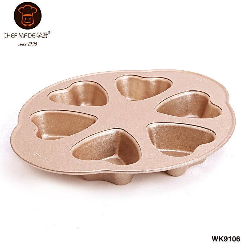 6 Cup Non-Stick Heart Cake Pan 566g