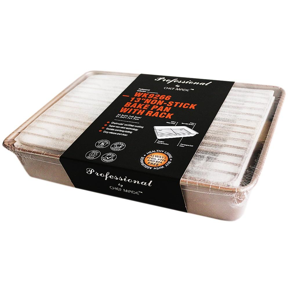 Chefmrde 13'' Non-stick Bake Pan With Rack 34.5*24.7*6.2cm/31.3*21.7*1.7cm