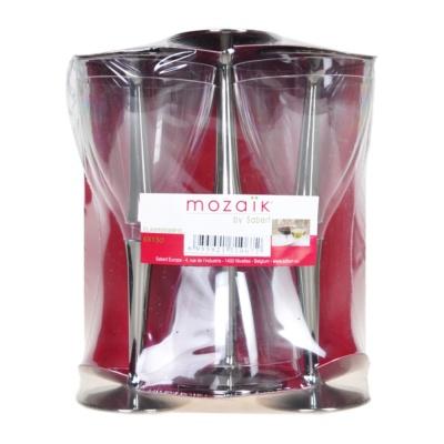 Sabert Mozaik Plastic Wine Glasses With Silver Stem 6pieces