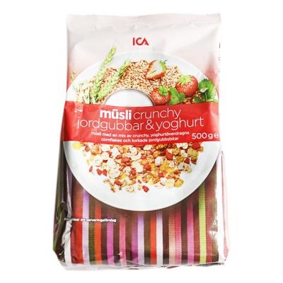 Ica Crunchy Strawberry &Yogurt Oatmeal 500g