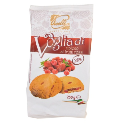 Piselli Red Fruit Filled Biscuits 250g