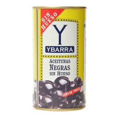 Ybarra Hojiblanca Pitted Black Olives 350g