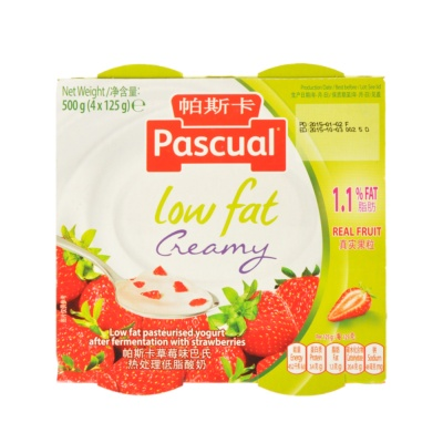 Pascual Low Fat Strawberry 4*125g