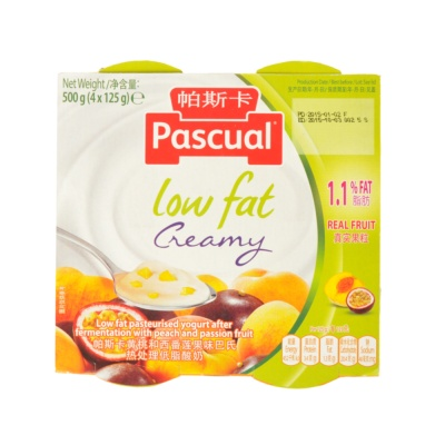 Pascual Low Fat Peach & Passion Fruit 4*125g