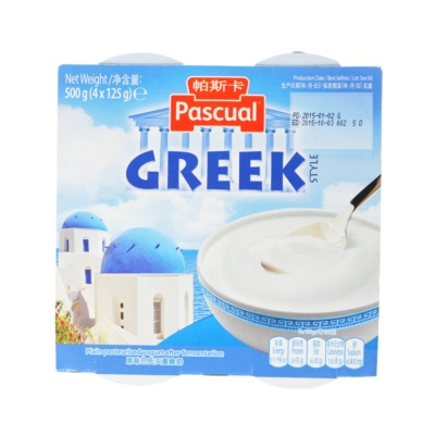 Pascual Greek Style Plain Pasteurised Yogurt After Fermention 4*125g