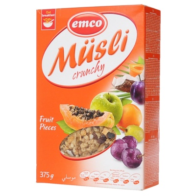 Emco Musli Crunchy Fruit Pieces Oats 375g