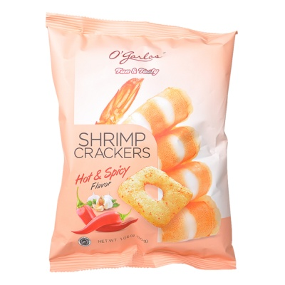 O'garlos Shrimp Crackers Hot & Spicy Flavor 30g