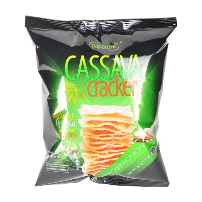Papatonk Cassava Crackers Chicken Onion Flavor 50g