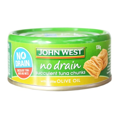 Johnwest No Drain Succulent Tuna Chunks With A Little Olive Oil 130g