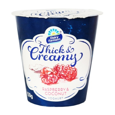 Dairy Farmers Thick Creamy Raspberry & Coconut 150g