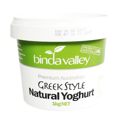 Bindavalley Greek Style Natural Yoghurt 1kg
