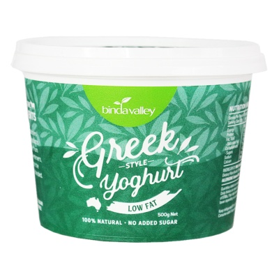 Binda Valley Greek Style Yoghurt Low Fat 500g