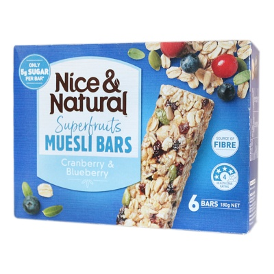 Nice & Natural Superfruits Muesli Bars (Cranberry & Blueberry) 180g