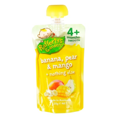 Rafferty's Garden Infant Banana & Pear & Mango Flavored Puree 120g