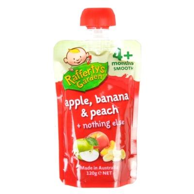 叶子婴儿果泥(苹果、香蕉和桃)4+ 120g