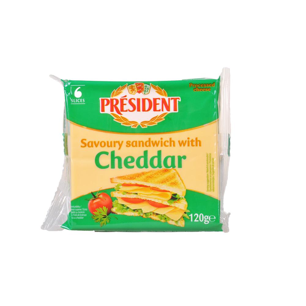 总统三明治专用切达再制干酪片 120g