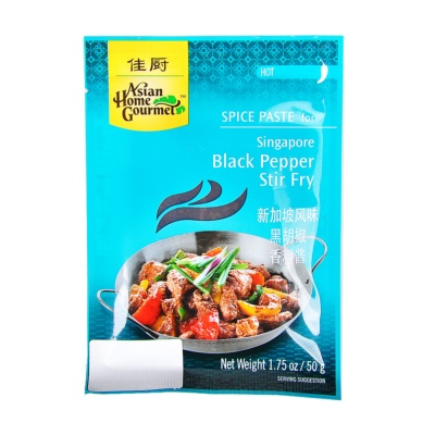 Asian Home Gourmet Singapore Black Pepper Stir Fry Hot Spice Paste 50g