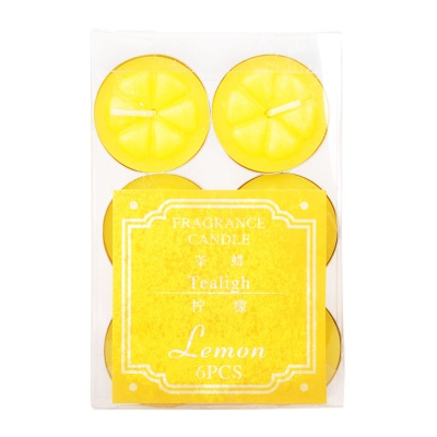 Tealigh Lemon Fragrance Candle 6pcs