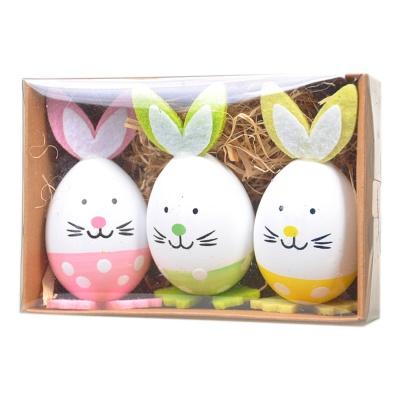 复活节彩蛋6cm兔子摆件装饰 3枚