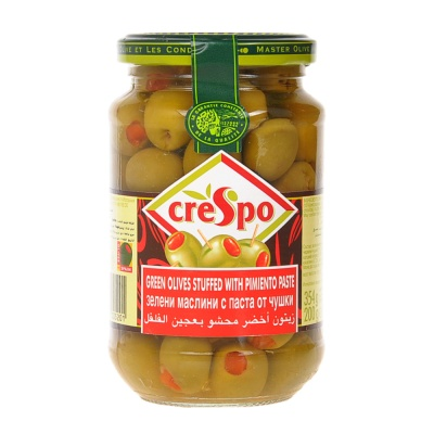 Crespo Stuffed Green Olives With Minced Pimiento in Brine 354g