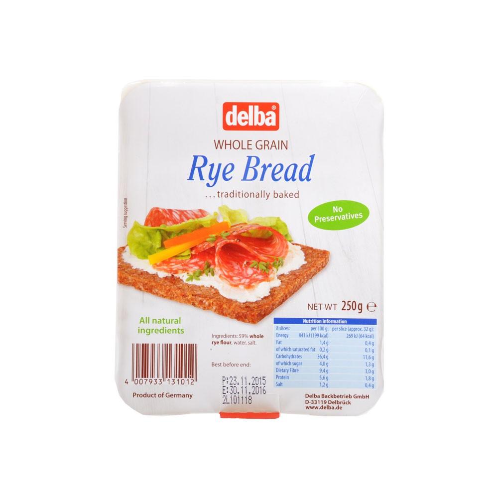 Delba Whole Granin Rye Bread 250g