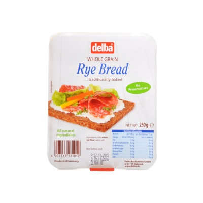 Delba Whole Granin Rye Bread 250g