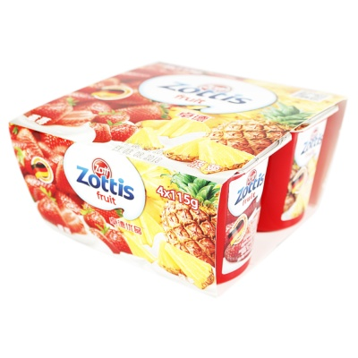 Zott Zottis Fruit (Strawberry+Pineapple Flavor) 4*115g
