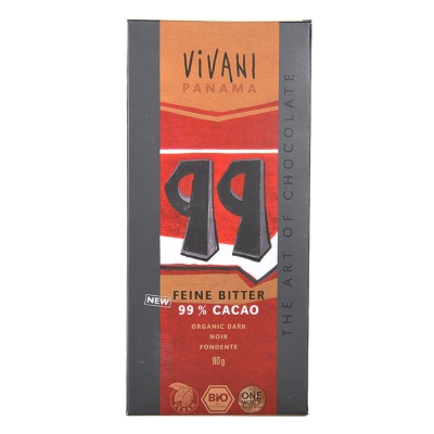 Vivani 99% Cacao Dark Chocolate 80g