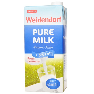 Weidendorf Pure Milk 1.5% Fat 1L