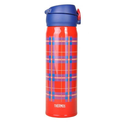 Thermos Vacuum Cup (Red And Blue Grid) 500ml