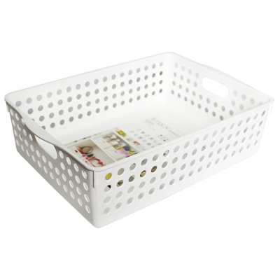 Inomata Plastic Stock Basket(White) 21.3*30.2*8.7
