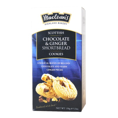 Maclean's Highland Bakery Scottish Chocolate & Ginger Shortbread Cookies 150g