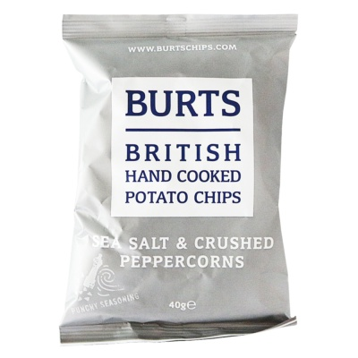 Burts British Hand Cooked Potato Chips(Sea Salt&Crushed Peppercorns) 40g